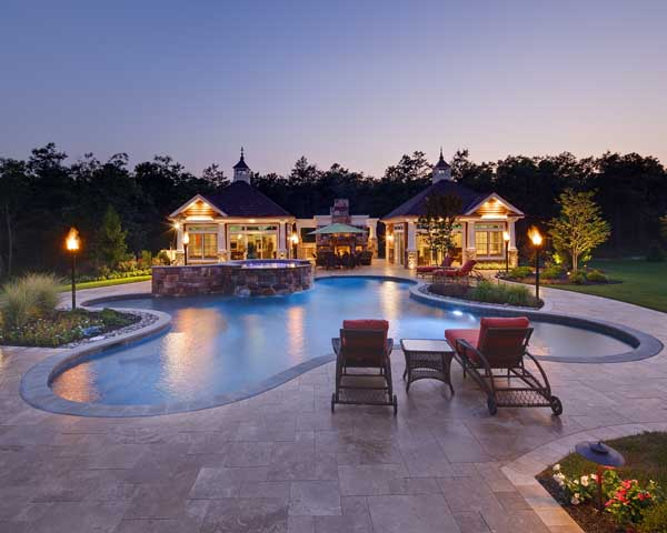 outdoor living space in a custom home